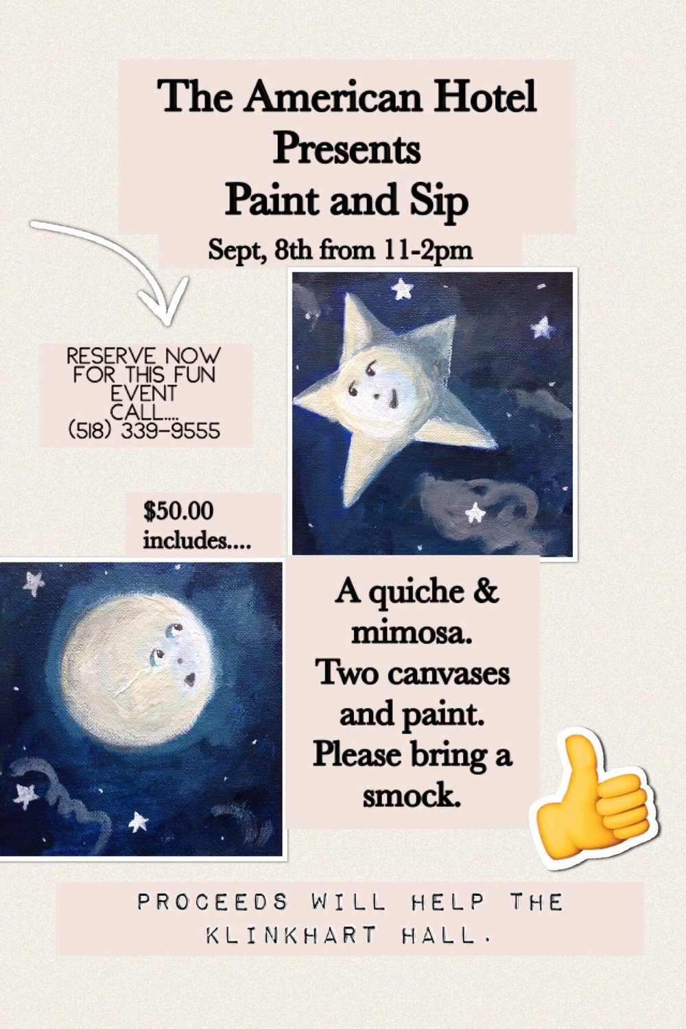 Poster for Paint and Sip event