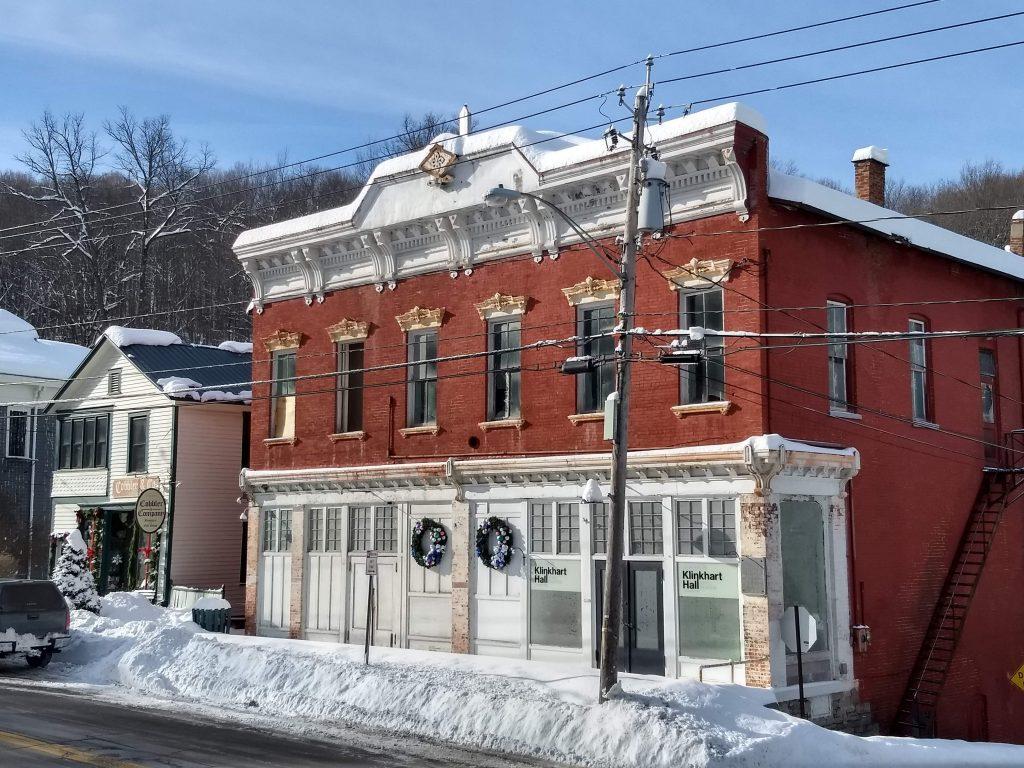 Klinkhart Hall in December snow, 2020