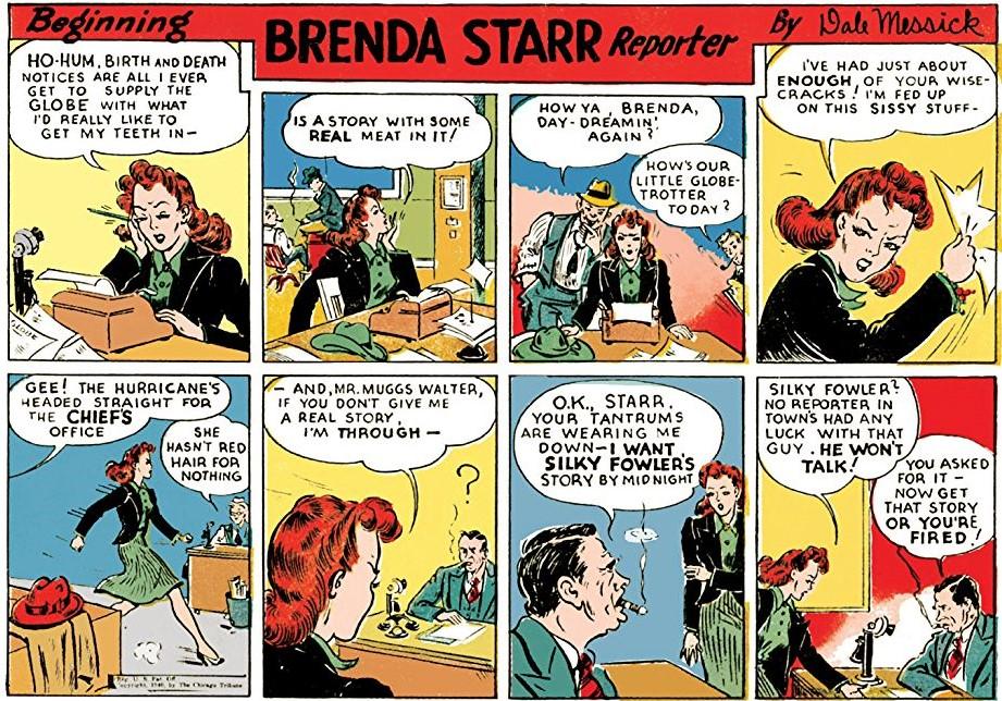 first Brenda Starr comic strip, June 30, 1940