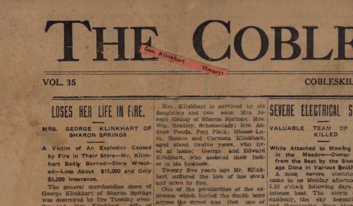 Cobleskill Times July 11,1911